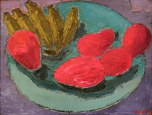 MARQUETTI, IVAN (1941-2004)Fruteira com mangas rosas e bananas, ost, 50 x 65. Assinado e datado (1992)