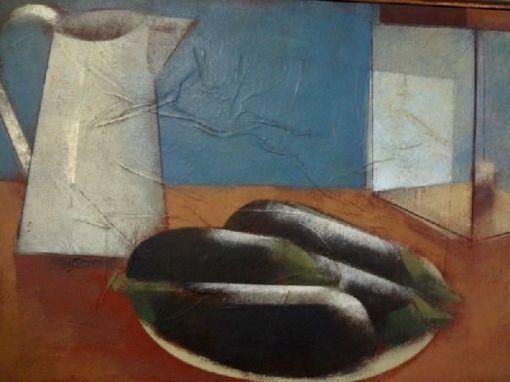 SCLIAR, Carlos (1920 - 2001)As Berinjelas, Jarra e Lampião, o.s.m. - 37 x 56 cm. Ass. dat. 95