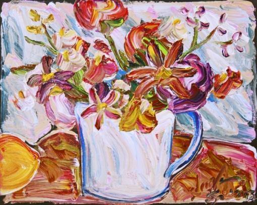Sou Kit Gom(SP, 1973) - O vaso e o pêssego - Acrílica sobre tela 40x50 cm - 2013 - Assinado no canto inferior direito