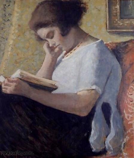 Armand Rassenfosse (Bélgica, 1862-1934)Leitura, c. 1925, ospapelão