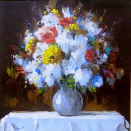 ARMANDO ROMANELLI 1945 - Flores, óleo stela, datado de 2008. Med. 60 x 60 cm.