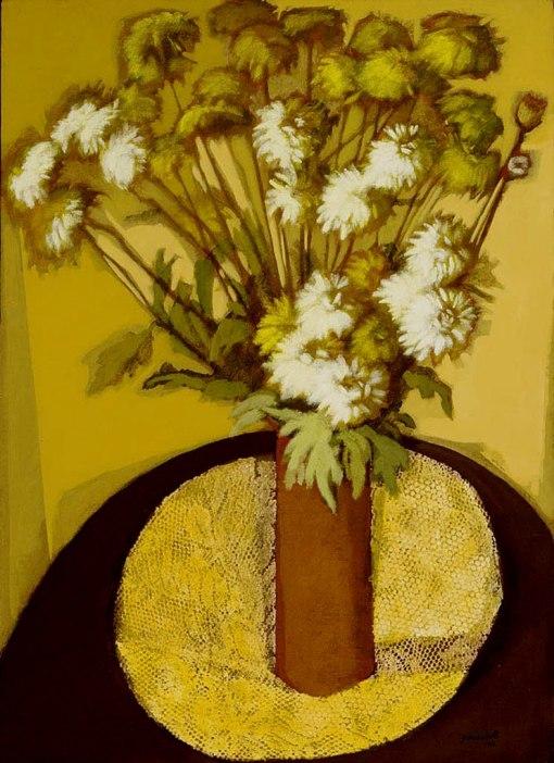 BIANCHETTI, Glenio,Vaso com Flores,óleo s tela colada em madeira, 1981,76 x 55 cm