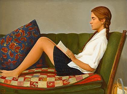 BO Bartlett (EUA, 1955) Jackie lendo Aureole, 1999, óleo sobre tela, 45 x 61 cm