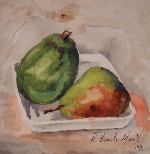 BURLE MARX, Roberto Burle Marx, Natureza Morta. Técnica mista sobre cartão, 17 X 17 cm. datado 1973. Assinado no canto inferior direito