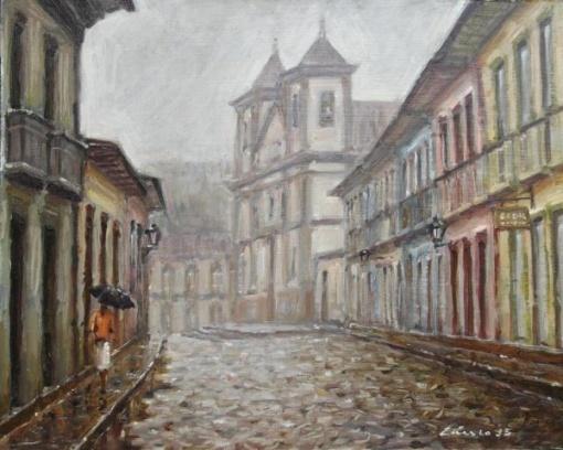 Cassio Antunes, Rua Direita em dia de Chuva - Mariana, OSP, 24x30, ACID, 2015