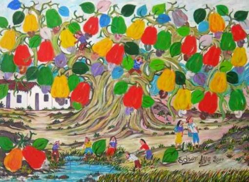 Edson Lima (1936-2000) - Cajueiro e lazer - Óleo sobre tela - 50 x 67 cm - 2000