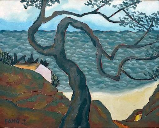 FANG (Fang Chen-Kong) (1931) Paisagem. o.s.t. - 40 x 50 cm. .Assinado