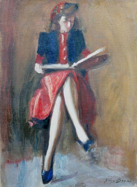 Gino Bruno, Leitura, Óleo sobre tela, 65 alt X 50 larg (cm), acid