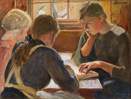 Halonen,_Pekka, (Finlandia, 1865-1933)Crianças lendo, 1916, ost, Museu de Arte Moderna, Espoo,Finlandia