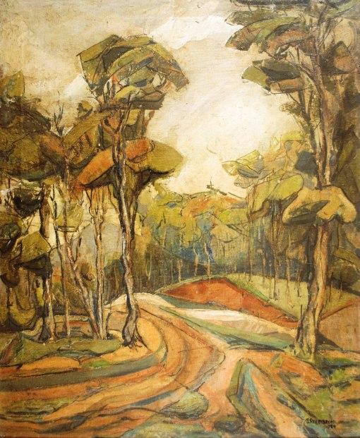 IZRAEL SZAJNBRUM - (1924), Paisagem, 1951, ost, 61 x 50m