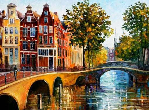 Leonid Afremov, The Gateway to Amsterdam, 2000s, oil on canvas, [no dimensions], Private Collection