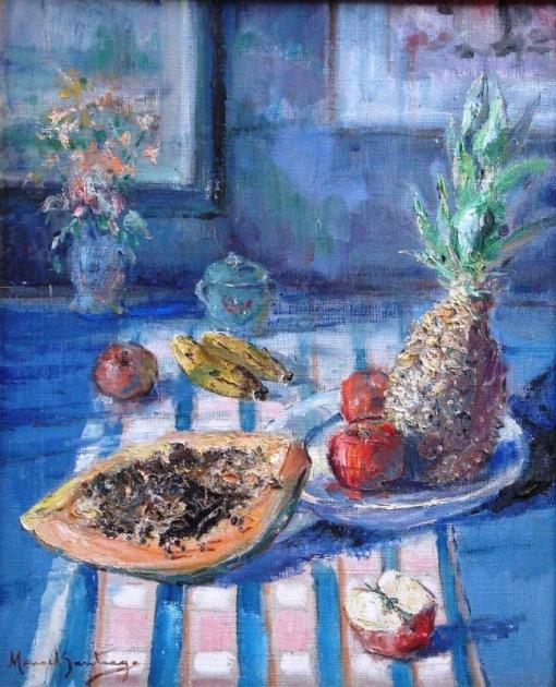 MANOEL SANTIAGO (1897 - 1987)Flores e frutos, déc60,o.s.t - 60 x 50