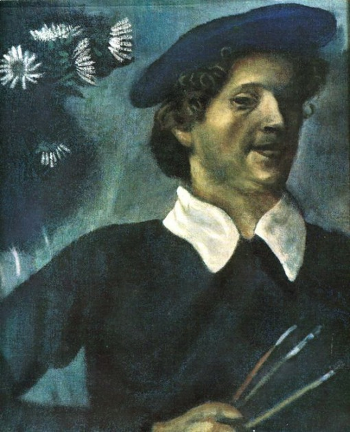 Marc Chagall. Self-Portrait with Brushes. (Autoportrait). 1909.