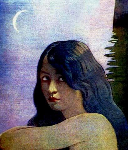 moça à noite, Ilustração F Cayley Robinson