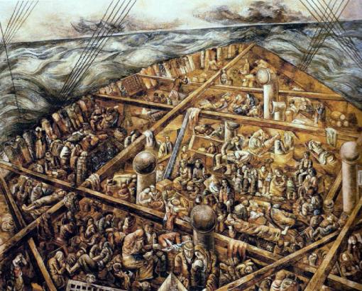 navio-de-emigrantes, , de Lasar Segall (1939-41), pintura a óleo com areia sobre tela, 230 x 275 cm