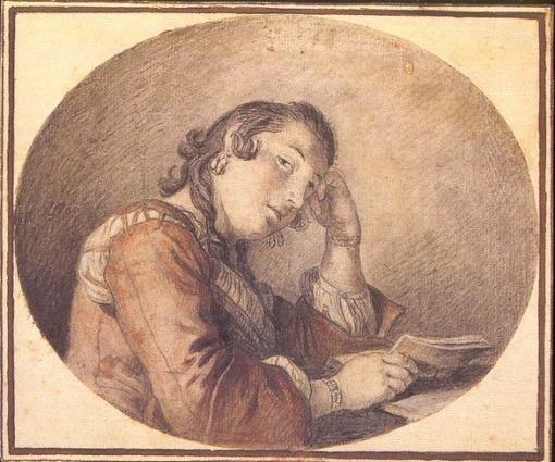 Pietro Rotari (Verona, 1707-1762) -- Jovem lendo,sanguinea e bico de pena sobre papel. 13 x 15 cmMuseu de Castelvecchio Verona
