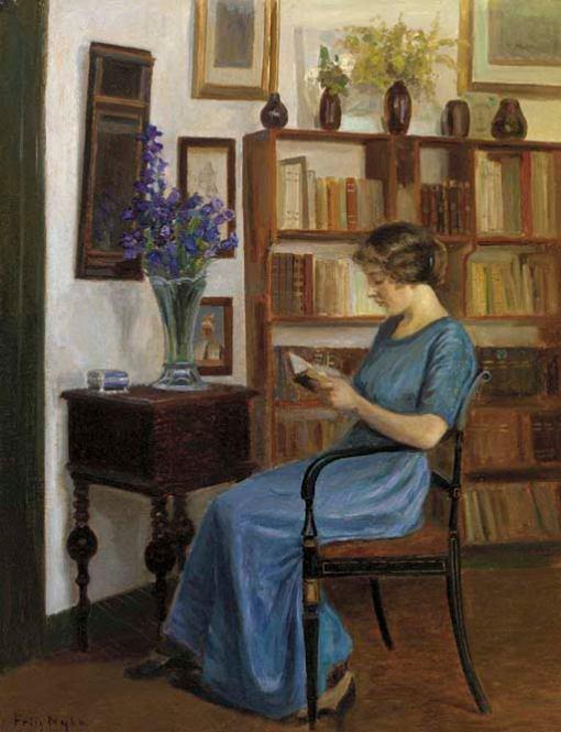 Poul Friis Nyboe (Dinamarca,1869-1929)Um autor favorito, ost, 63 x 48 cm