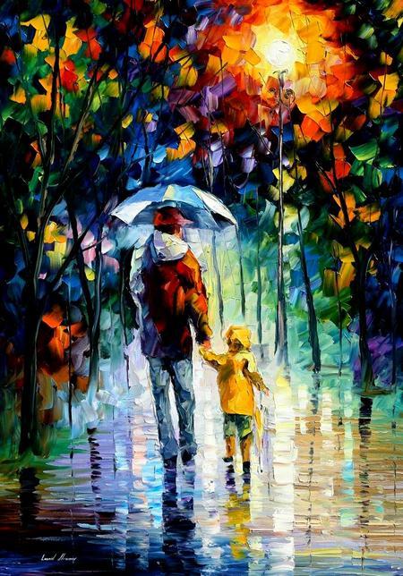 rainy_walk_with_daddy_afremov_by_leonidafremov-d31pnbb