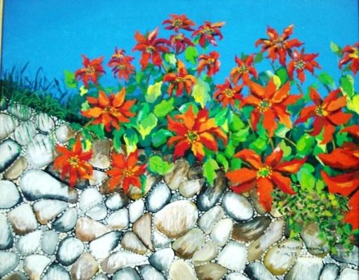 Ruth MOTTA GRANDE, OST, Flores no Muro, med. 36x41cm. Ass. CID. Datado 77.