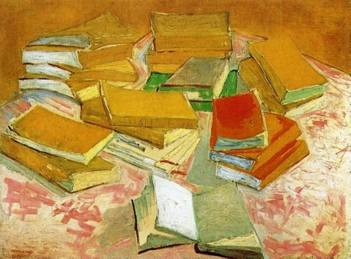 Still Life (French Novels) painting by Vincent van Gogh (c. 1888 Paris, France) Van Gogh Museum, Amsterdam, Netherlands
