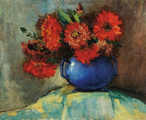 SYLVIO PINTO,Jarro com Flores vermelhas,ost, dec. 1940, 45 x 55cm