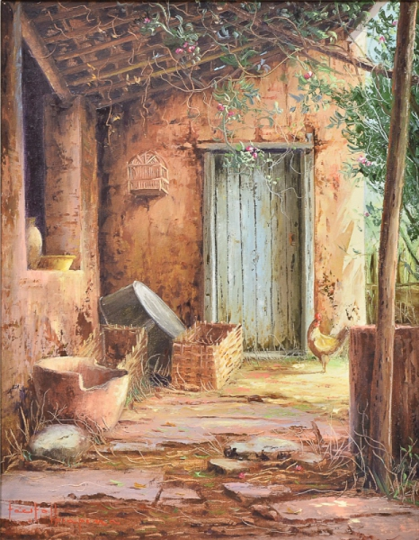 TÁCITO IBIAPINA (1950). Fundo de Quintal com Galináceo, óleo s tela, 50 x 40. Assinado no c.i.e.