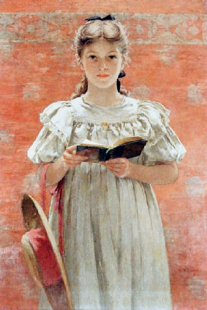 Walter MacEwen (1860 – 1943) Girl Standing with Book