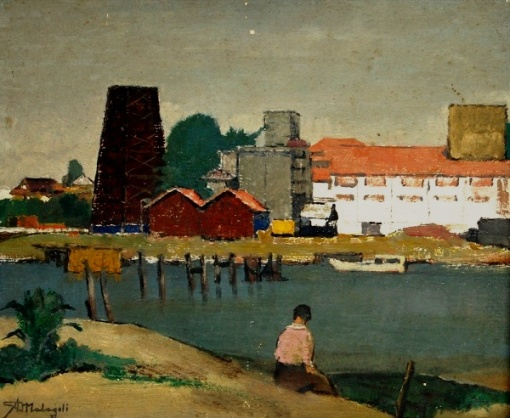 A.MALAGOLI (1906 -1994) - Paisagem com o Rio Guaíba com Usina de Gasômetro ao Fundo e Mulher Sentada. OSM. 38 x 46 cm