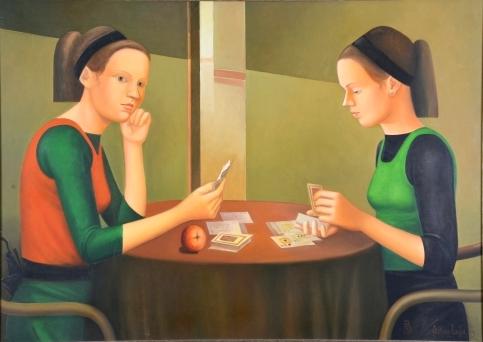 Adelson Santos - Jogo de cartas de baralho, o.s.t. - 85 x 120 cm. Assinado e datado 2003.