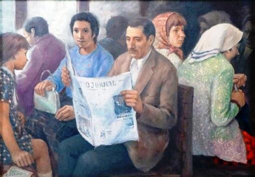 Aliberto BARONI (Brasil, 1911-1994) - Figuras no bonde - OST -CIE - 50 x 70 cm.