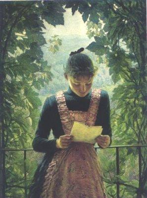 Angelo Morbelli ( Itália 1853-1919) Primeira Carta, 1890, ost