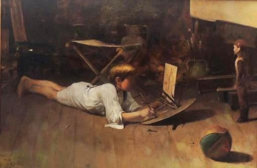 ARTHUR TIMOTHEO DA COSTA, No atelier - óleo sobre tela - 80x120cm - ass., datado e localizado cie. 1907 - Rio(Coleção particular ROSANA POCINHO)