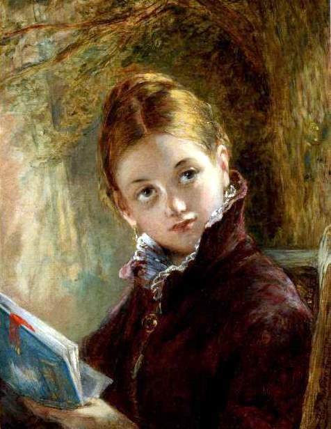 Augustus Edwin Mulready ( Irlanda, 1844-1905) Uma leitura sossegada, 1875, ost, 40x30cm, Maas Gallery, Londres