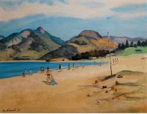 BUSTAMANTE SÁ (Rio de Janeiro, 1907 - 1988) Praia do Pontal, Rio de Janeiro. Óleo s tela. Ass. cid e verso. 51 x 65 cm.