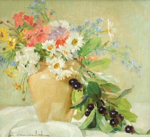 CARLOS OSWALD - (1882 - 1971)- Vaso de flores e frutas - osm - 34 x 39 - cie