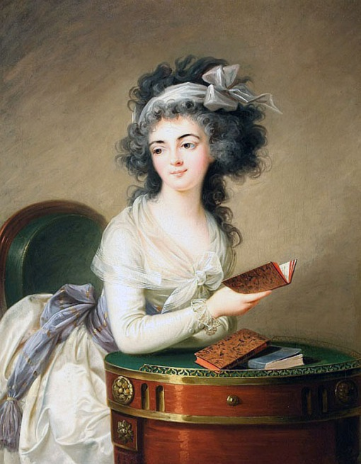 Countess Potocka – 1776, oil on canvas,101.6 x 76.2 cm Portrait of a lady reading, unsigned. school of Vigée Le Brun.