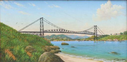 Eduardo Camões, Ponte Hercílio Luz, Óleo sobre tela, 20 alt X 40 larg (cm), acid e verso, Ano 1988 Floripa