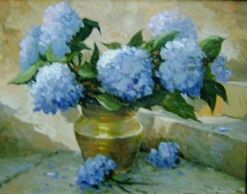 Egenolf Theilacker (Brasil,SC, 1941) hortensias, ost, 40 x 50 cm
