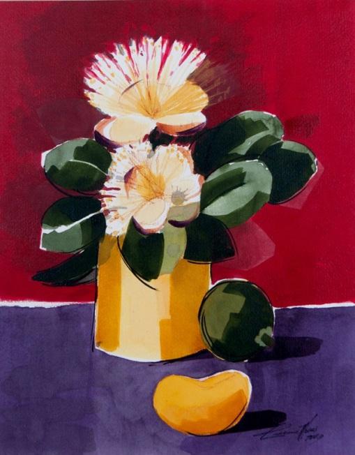 Elisiana Alves,Flores e Frutos de Pequi, 48 x 38 cm – Aquarela, 2008