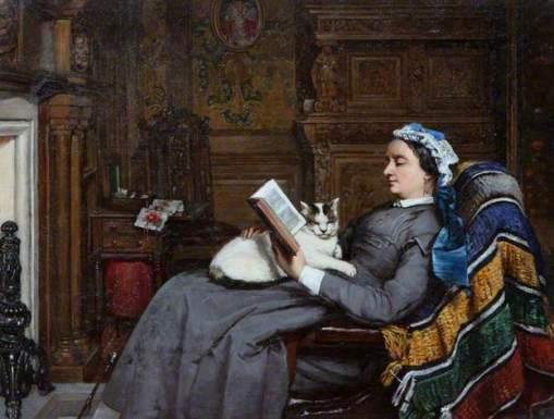 Elizabeth Allan-Fraser Sentada, lendo com gato, Patrick Allan-Fraser(GB, 1813-1890), ost,50 x 64 cm Hospitalfield Arts