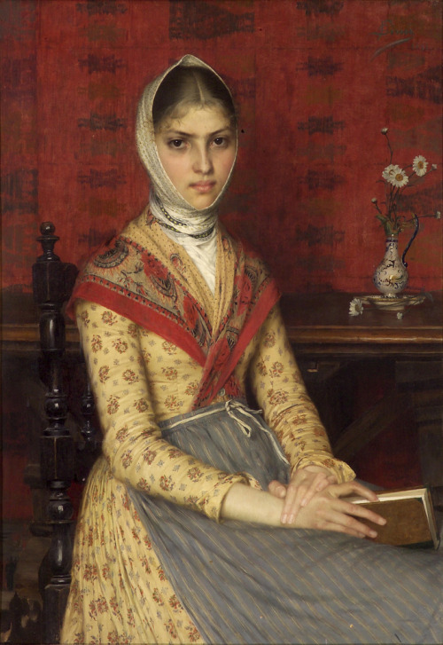 Filadelfo Simi (1849 - 1923) A portrait of a young woman holding a book