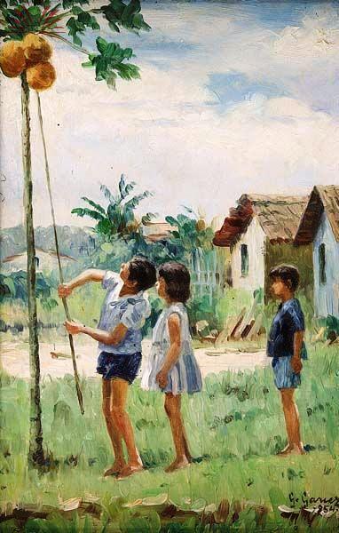 Gentil Garcez (Brasil, 1903, 1992) Crianças pegando coco, 1954, ose, 30 x 20 cm