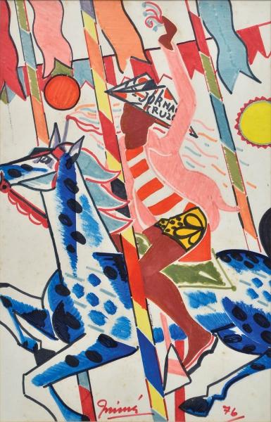 INIMÁ DE PAULA (1918 - 1999) - O Menino no Cavalo de Carrocel, guache, 44 x 28. Assinado e datado (1976)