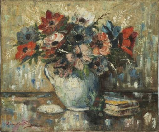 MANOEL SANTIAGO (1897-1987) -Natureza Morta - Vaso de Flores, óleo sobre tela, Déc. 50, med. 50 x 60cm, assinado frente e verso, datado 1950 e localizado Rio