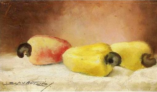 SOLON BOTELHO (1912-1982) - Natureza Morta - Cajus, pintura a óleo sobre chapa, med. 12 x 22cm