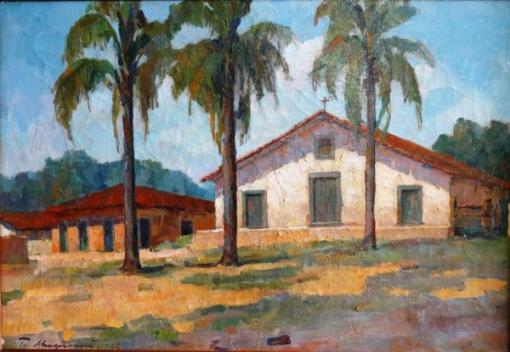 TULIO MUGNANINI. Casario com coqueiros em Carapicuíba-SP - o.s.t. - 38 x 55 cm - assinado e datado 1966 no cie e verso.