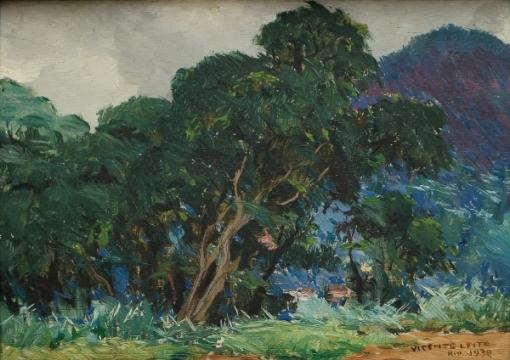 VICENTE LEITE (1900-1941).Paisagem Serrana com Mata Atlântica, óleo s madeira, 16 X 22. Assinado, datado (1938) e localizado (Rio) no c.i.d.
