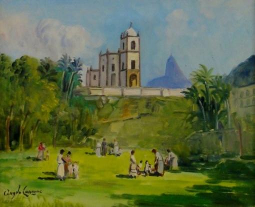 ANGELO CANNONE (1899-1992) - Domingo no Largo da Glória - RJ, ótela, 38 x 46. Assinado no c.i.e. (Década de 50).