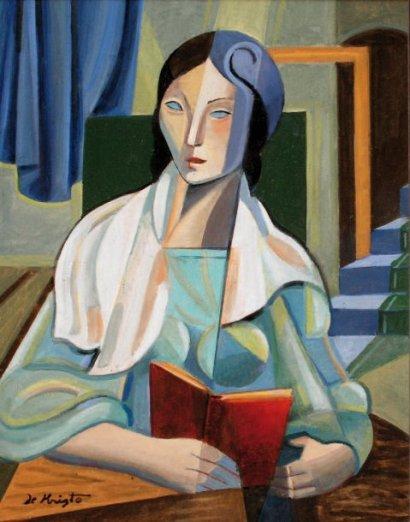 Bela de Kristo Florence lendo,c. 1965,Bela de Kristo (Hungria, 1920-2006),ost, 28 x 24cm