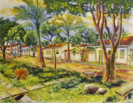 ELDER ROCHA LIMA (Brasil, 1928), têmpera de vinil Rua Aurora, Pirenópolis, Go,90 x 70cm 2010